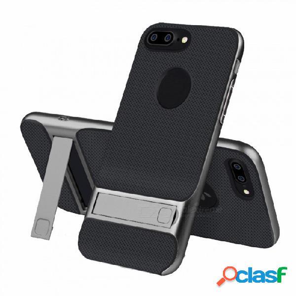Naxtop 2 en 1 negro tpu blando pc duro parachoques de doble capa cubierta posterior con soporte para iphone 7 plus