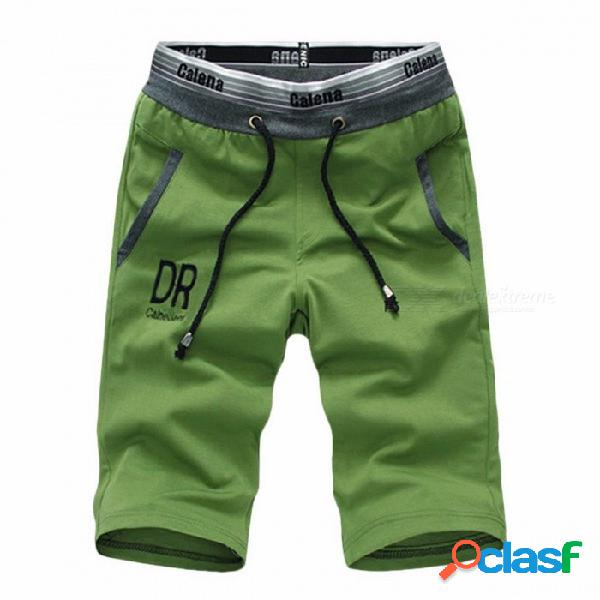 Pantalones cortos para hombre cinco pantalones de algodón de verano sueltos pantalones casuales ropa deportiva hasta la rodilla pantalones deportivos negro / m