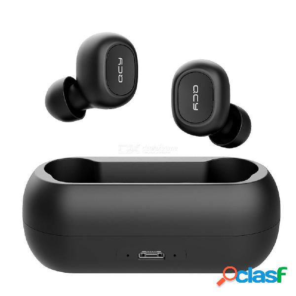 Qcy t1c mini auriculares bluetooth inalámbricos con micrófono para deportes con cancelación de ruido auriculares con caja de carga