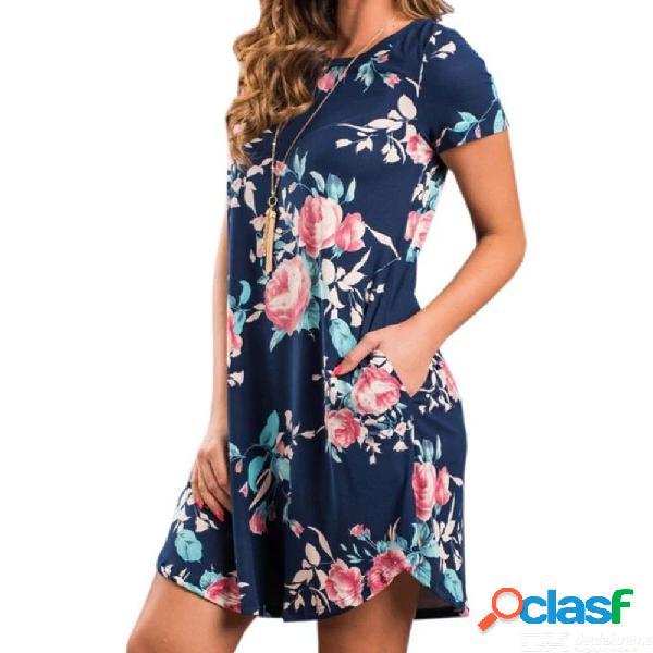 Vestido de verano con cuello redondo, mini vestidos, vestido de manga corta y bolsillos para mujeres.