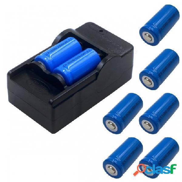 Zhaoyao 8pcs 3.7v 2000mah 16340 baterías de iones de litio con cargador de adaptador de corriente us plug - azul