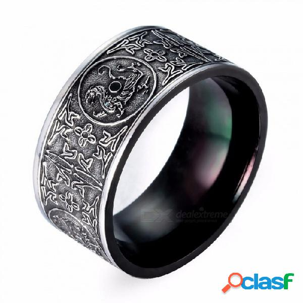 Anillo de acero de titanio para hombre vintage de metal individualidad negro cuatro dioses bestias joyas hombres anillo - negro