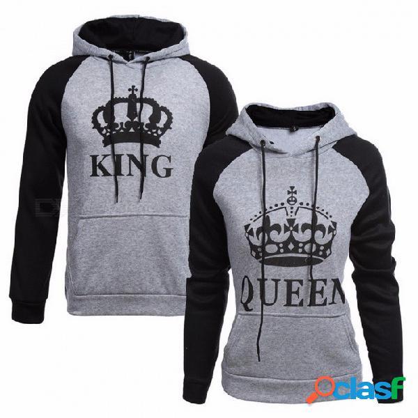 La letra de la reina hecha punto del rey imprimió las sudaderas con capucha de los pares, sudadera del desgaste de la calle del hip hop, chándal con capucha del suéter para el invierno del ot