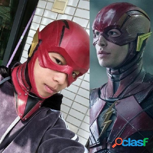 Máscara de la justicia de la película máscara el flash allen cosplay casco rojo máscara adulto cara llena de látex de halloween máscara de cosplay rojo