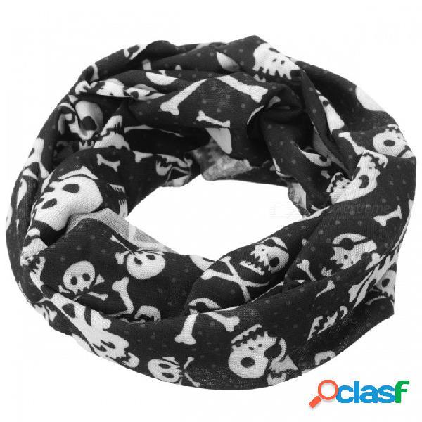 Patrón de cabezas de cráneo bufanda de pañuelo de ciclismo en línea al aire libre sin costuras - negro + blanco
