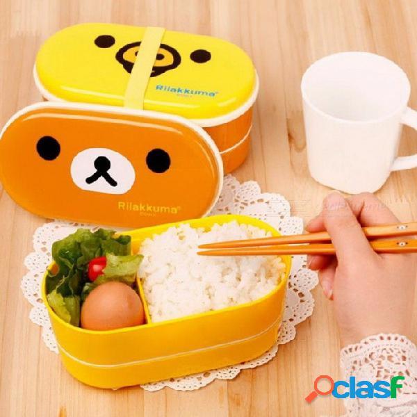 2 capas de dibujos animados rilakkuma lonchera bento almuerzo envase contenedor de alimentos estilo japonés plástico almuerzo caja de almacenamiento oso pardo