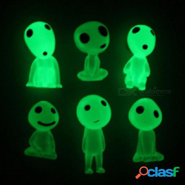 Acción anime figura juguetes luminoso kodama árbol hayao miyazaki princesa mononoke árbol duendes enérgico kodama elfo juguete de dibujos animados 5 unids claro