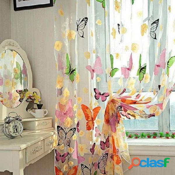 Cortinas de mariposas románticas hilo de tul cortina personalizar cortinas para vivir cortina de ventana de detección para la sala de estar decoración del hogar mariposa