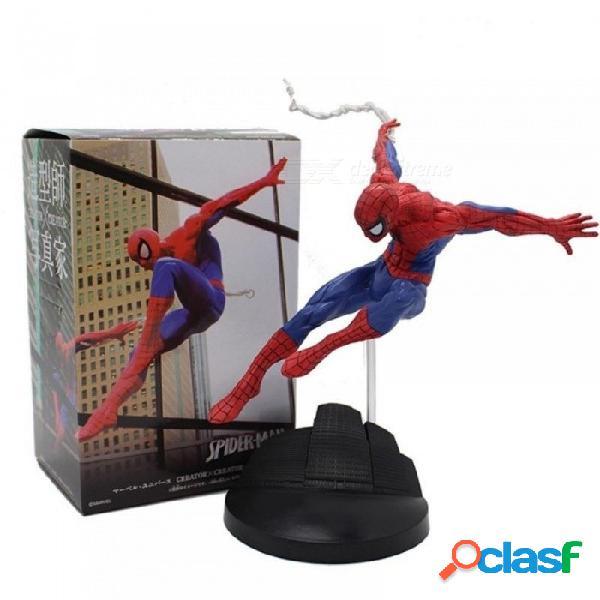 Figura de acción del hombre araña de pvc spiderman héroe hombre araña estatuilla modelo de película de anime colección de juguete para niños en caja de 18 cm rojo
