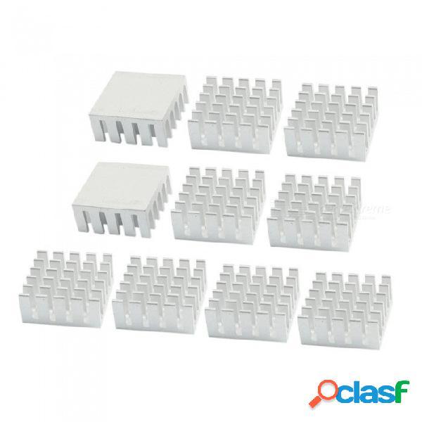 Rxdz 10pcs disipadores de calor de tono plateado 22 mm x 22 mm x 10 mm aletas de enfriamiento de aluminio