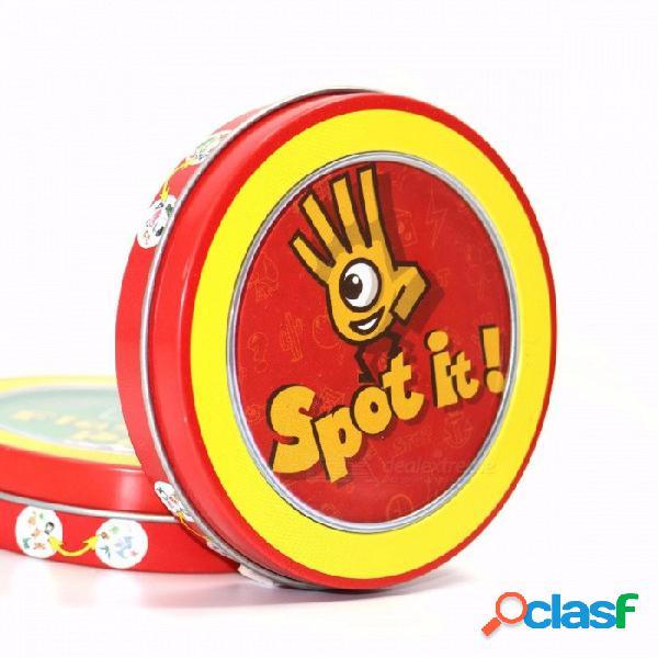 """el más nuevo juego de mesa con mesa """"spot it"""", papel de alta calidad con caja de metal, el mejor regalo para tus amigos spot."""