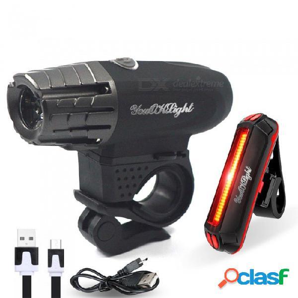 Juego de luces de bicicleta impermeable youoklight, carga usb 4 luces de bicicleta súper brillante súper + luz trasera de seguridad led
