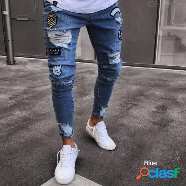 Pantalones vaqueros pitillo desgastados pantalones vaqueros delgados desgastados pantalones de moda hip hop para hombres