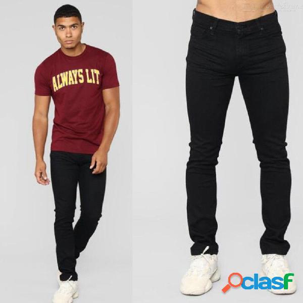 Pantalones vaqueros slim fit pantalones elásticos delgados cómodos pantalones casuales para hombres - negro