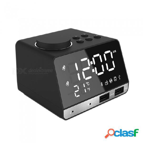 Reloj de alarma digital esamact led, compatible con radio fm con reproductor de altavoz inalámbrico bluetooth