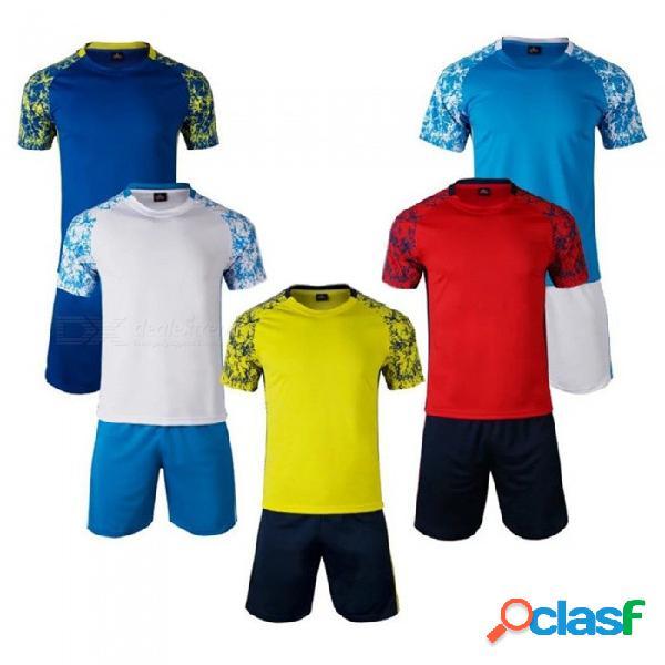 Ropa deportiva de entrenamiento de fútbol de manga corta, transpirable, de dos piezas, de secado rápido para hombres, traje de entrenamiento de fútbol para hombre duradero azul / m