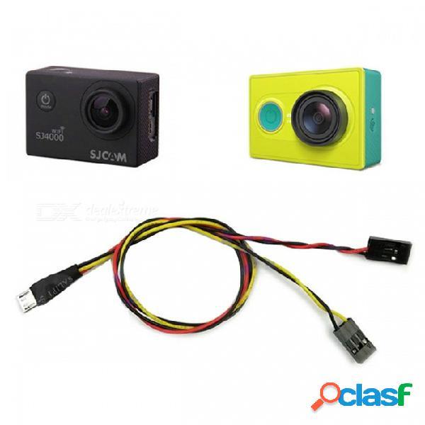 Video cable de salida av línea de cable tx para sj4000 sj5000 6000 cámara de acción deportiva xiaomi yi cámara fpv puerto micro usb recargable