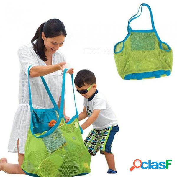 Arena de los niños bolsa de malla de playa niños juguetes de playa bolsa de toalla de ropa bolsas de almacenamiento de juguete de bebé misceláneas bolsas verdes