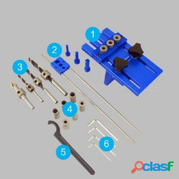 Carpintería de bricolaje carpintería herramienta de alta precisión juego de plantillas de pasadores 3-en-1 localizador de perforación, 08450a kit de guía de perforación colorido