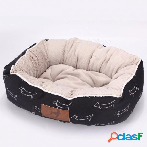 Cooby con estilo cálido y confortable cama para mascotas gato casa de perro mascota suave para cachorros pequeño perro grande perro gato cama colchón l 65x55x18cm / negro