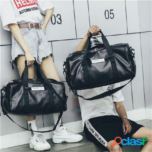 Gran capacidad al aire libre deportes gimnasio bolsa de deporte impermeable pu bolso bolso de viaje negro