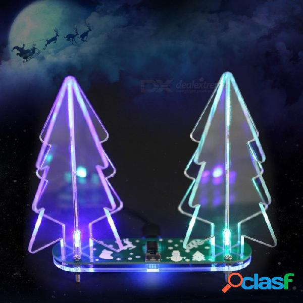 Kit de bricolaje portátil 3d para acrílico del árbol de navidad, kit de aprendizaje electrónico de luz led a todo color cambiante verde transparente