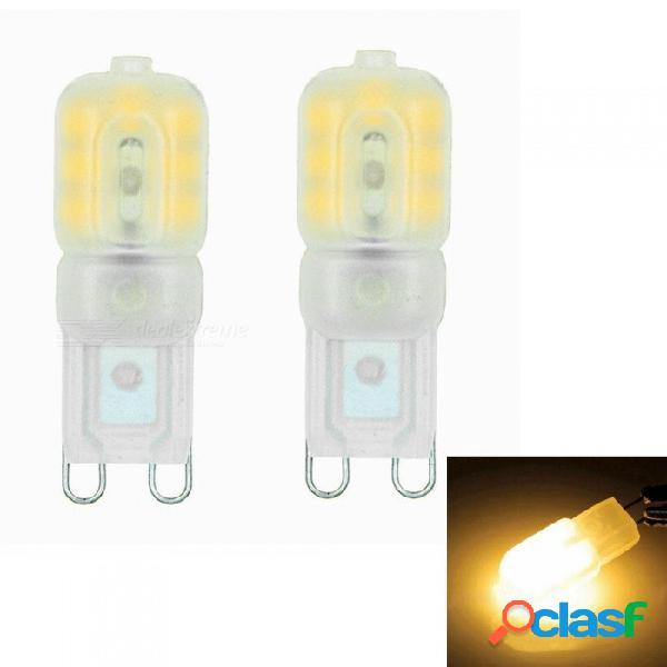 Sencart g9 3w 14x2835 smd led de luz regulable con cubierta de abs en color crema, ac110-130v (2 pcs)