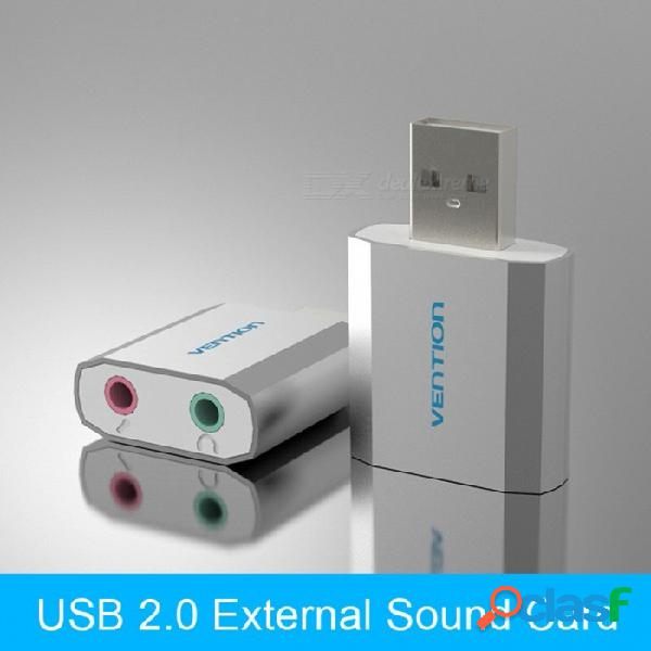 Vention portátil, ligero, gratis, unidad, usb 2.0, externo, computadora, audio, tarjeta de sonido, para, windows, linux, mac, plateado