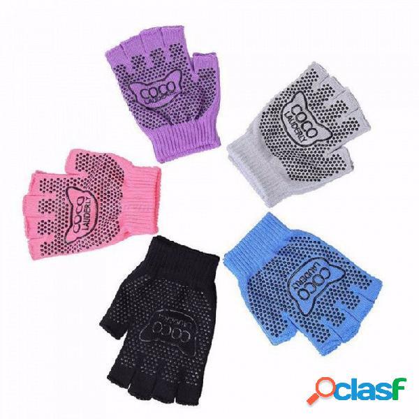 1 par de deportes al aire libre, fitness, yoga, yoga, pilates, medio dedo, guantes transpirables que absorben la humedad, equipo de protección púrpura