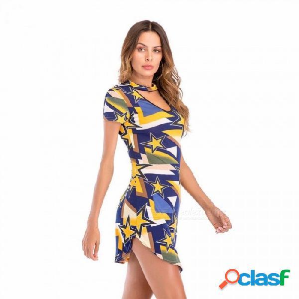2018 nuevo modelo de primavera y verano vestido de las mujeres con cuello en v halter delgado lleno cadera colorblocked vestido de manga corta