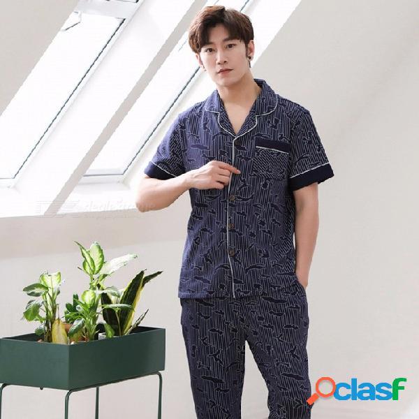 2018 pijamas de verano para hombres de algodón de manga corta ropa de dormir pijamas delgados pantalones conjunto azul / l