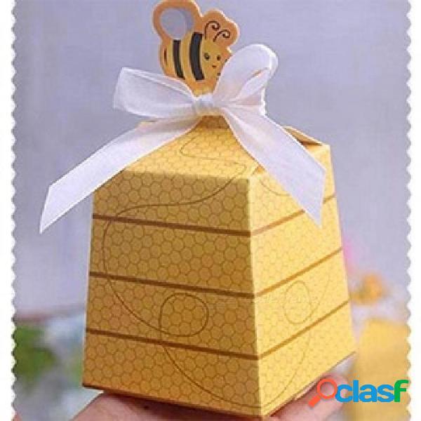 Abeja amarilla estilo europeo favorece cajas de dulces caja de regalo con cintas blancas baby shower boda fiesta de cumpleaños suministros 10 unids 65x65x70mm / amarillo