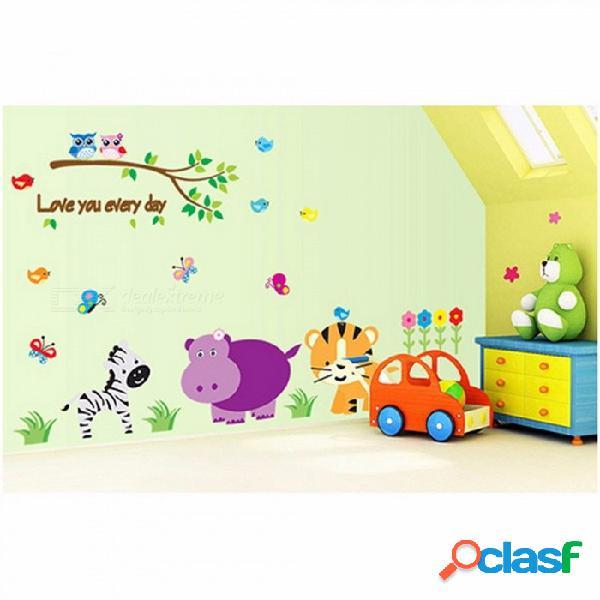 Animales pegatinas de pared de arte mundial para niños decoración de la habitación tatuajes de casa diy safari arte carteles regalo de los niños multi