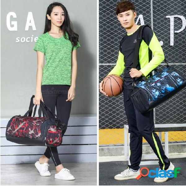 Bolso multifuncional para deportes al aire libre, gimnasio, bolsa de hombro de viaje, bolso de hombro con espacio para zapatos azul