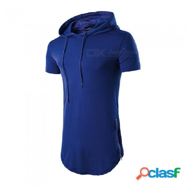 Camiseta con capucha de algodón casual con cremallera lateral, elegante camiseta de manga corta con capucha para hombre negro / m