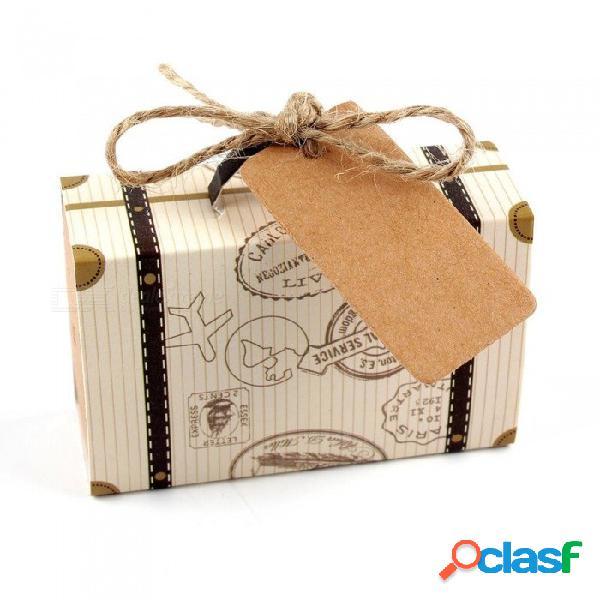 Europa maleta caja de dulces bodas favorece viajes cajas de regalo de papel con tarjeta & burlap cumpleaños evento fiesta proveedor 10pcs 10pcs