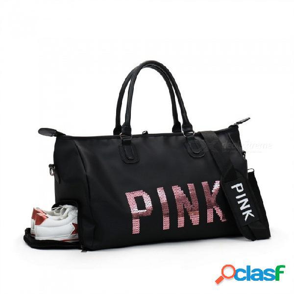 Lentejuelas de color rosa gimnasio bolsa de deporte de las mujeres bolso de deporte al aire libre de viaje camping multifunción bandolera con zapatos espacio negro