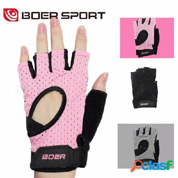 Los guantes de medio dedo de yoga de fitness deportivo antideslizantes transpirables suaves ahuecan hacia fuera los guantes para las mujeres negro / l