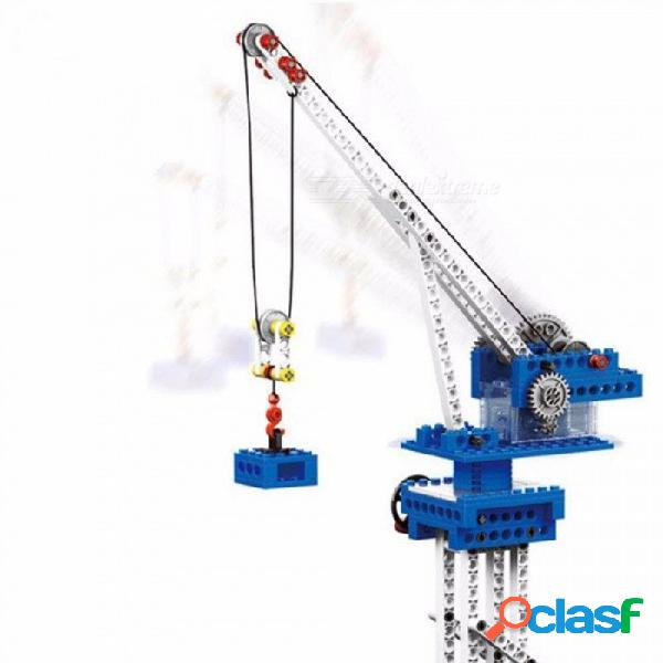 Maquinaria eléctrica 4 en 1 modelo de bloques de construcción técnica wange juguetes educativos ingeniería electrónica grúa ensamblaje bloque multicolor