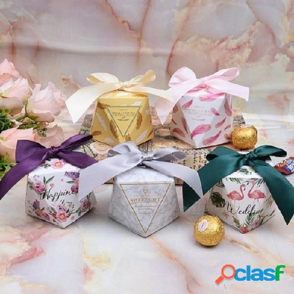 Multicolor caja del favor de la boda y bolsas de dulces cajas de dulces de regalo para la boda baby shower cumpleaños invitados favorece evento suministros para fiestas 20 unids / plata