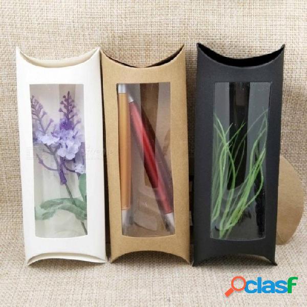16 * 7 * 2.4 cm marrón / blanco / negro caja de la ventana de la almohada de cartón con pvc transparente para productos / regalos / favores / pantalla de embalaje muestran 160x70x24mm / negro