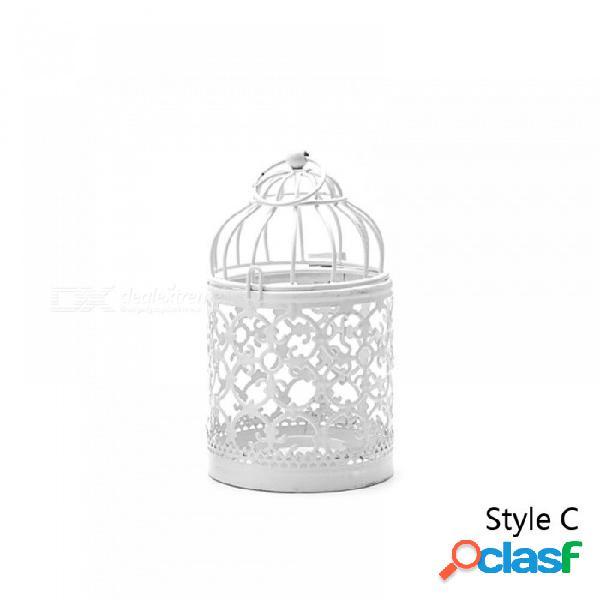 Decoración del hogar titular de la vela candelero candelero colgante linterna jaula de pájaros vintage navidad / hada boda / decoración de fiesta estilo c