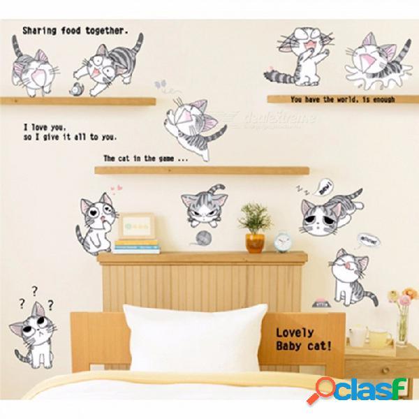 Etiqueta engomada de la pared del gato caliente para la decoración de la etiqueta del dormitorio etiqueta de la pared de los niños del gato etiqueta engomada del vinilo del gato sala de estar