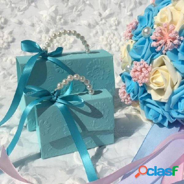 Favor de la boda del partido portátil cajas del caramelo de la fiesta de bienvenida al bebé bolsa de regalo diy creativo caja de dulces matrimonio romántico 10 unids / lote 90x55x60 mm / cian