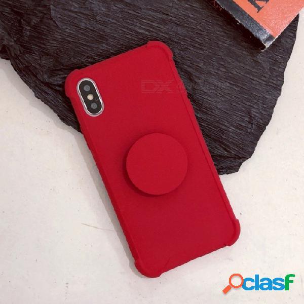 Funda protectora de tpu color sólido a prueba de choques de color sólido cooho con soporte para iphone 7 plus / 8 plus - rojo