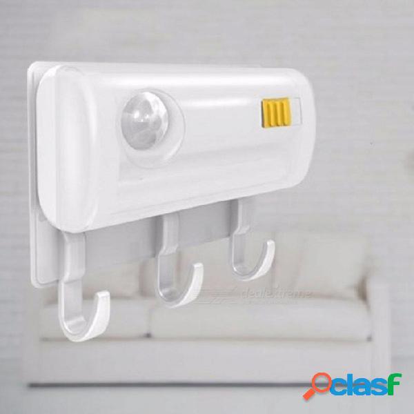 Luz led sensor inteligente cuerpo humano inducción led chip lámpara gancho imán lechón lámpara pasillo gabinete lámpara blanco / blanco