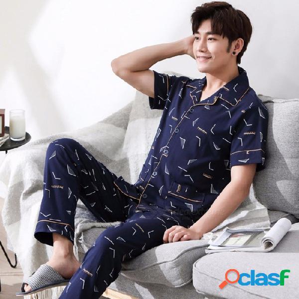 Pijamas de verano para hombres de algodón de manga corta con cuello vuelto sólido ropa de dormir pantalón fino pijama conjunto azul / l