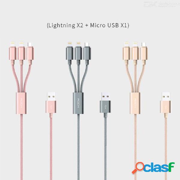 Rock 1.2 m nylon trenzado relámpago y cable de datos de carga rápida micro usb para teléfonos móviles apple + tipo-c