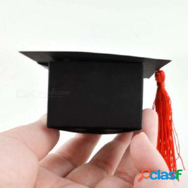 Sombrero médico tapa caja de caramelo graduación celebración fiesta decoración caramelo favor cajas caja de embalaje de regalo de graduación 50 unids / lote 75 x 75 x 35 mm / rojo negro