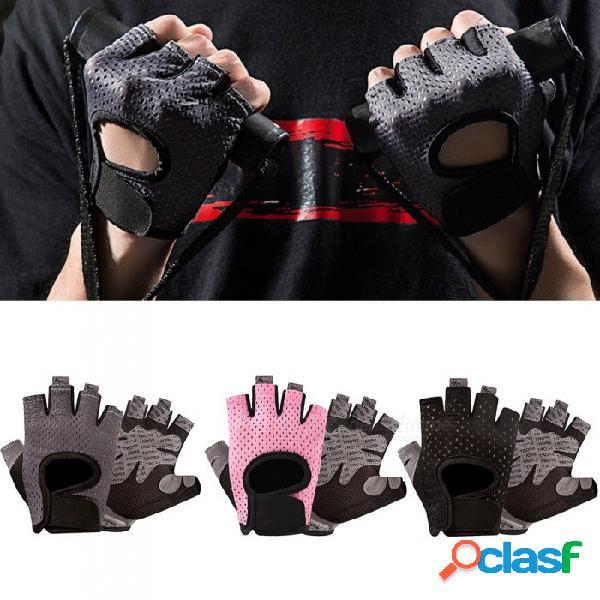 1 par de deportes al aire libre fitness yoga ciclismo medio dedo guantes antirresbaladizos guantes transpirables que absorben la humedad para mujeres negro / l